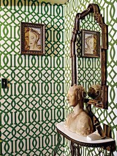 """Sevigny found this Kelly Wearstler Imperial Trellis wallpaper before she started working with Cafiero. """"It had a seventies Wasp-y vibe,"""" she says."""