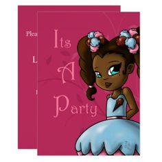 """Sweet Sherbet Ebonie Birthday Invitation"" ""5 x 7"" Card - invitations custom unique diy personalize occasions"