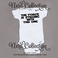 Baby Onesie Star Wars Inspired The Force Is Strong With This One Jedi Baby Shower Gift Nursery Funny Humerious Custom Clothing Infant Gerber