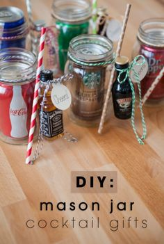 Mason Jar Cocktail Gift | DIY Christmas Gifts for Friends | It's the Thought That Counts!, see more at: http://diyready.com/easy-diy-christmas-gifts-for-friends-it-is-always-the-thoughts-that-counts/