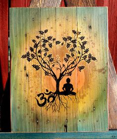 Bodhi Tree Om Pallet Art  Upcycled Pallet Art by CryptobioticDesigns on Etsy