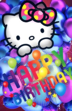 Hello Kitty Art, Hello Kitty Nails, Hello Kitty Pictures, Hello Kitty Items, Cute Birthday Wishes, Birthday Wall, Happy Birthday Images, Happy Birthday Greetings, Hello Kitty Backgrounds