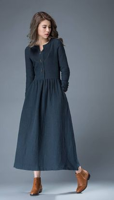 Navy Blue Spring Maxi Dress – Linen Comfortable Casual Everyday Fit & Flare Office or Work Woman's Dress Navy Blue Summer Dress – Linen Comfortable Casual Everyday Fit & Flare Office or Work Woman's Dress Linen Dresses, Women's Dresses, Blue Dresses, Vintage Dresses, Casual Dresses, Short Dresses, Dresses With Sleeves, Dress Long, Casual Outfits