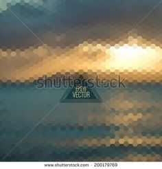 Retro landscape pattern of geometric shapes. Colorful mosaic. Triangle background - stock vector