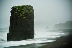 The Black Sand Beach In Vik Iceland.