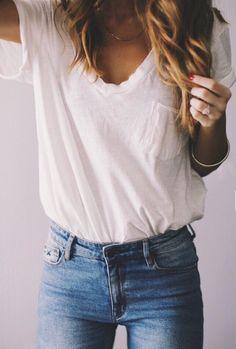 plain tee + blue jeans.