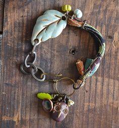 Mixed Media Owl Charm Bracelet with Leaf by LoreleiEurtoJewelry