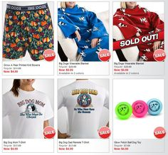 $4.99 deals on t-shirts, boxers and more on BigDogs.com today only!!