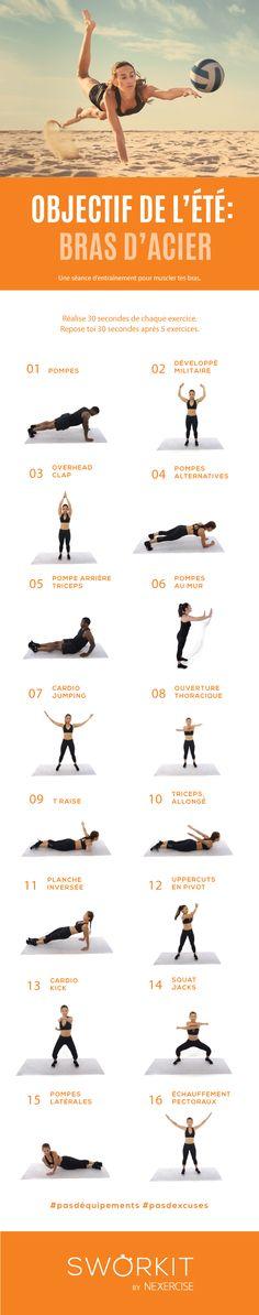 Objectif Bras d'acier ! Le défi parfait pour sculpter tes bras ! Pour voir les exercices de ce challenge en vidéo, télécharge SWORKIT sur www.sworkit.com #challenge #défi #bras #triceps #biceps #fitness #fitfrenchies