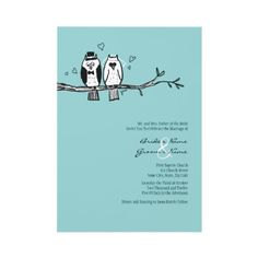 Bride and Groom Owls Wedding Invitation  Whimsical Cartoon Owls Wedding Invitation  Simple and sweet, this wedding invitation set features the image of two whimsical owls sitting on a tree branch with hearts! Totally customizable text allows you to use this unique invitation for any occasion in addition to weddings such as bridal showers or engagement party or rehearsal dinner invitations