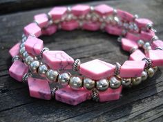 Pink bracelet in pink faux turquoise diamond with by firesky7, $13.99