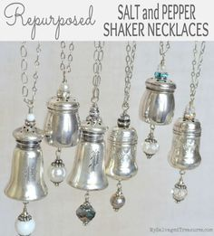 Necklaces made with vintage sterling salt and pepper shakers from MySalvagedTreasures.com