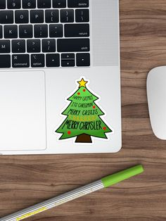 'Merry chrysler' Sticker by Sabrina Sanchez Sell Your Art, Sticker Design, Christmas Decor, Merry, It Is Finished, Lingerie, Stickers, Prints, Lingerie Set
