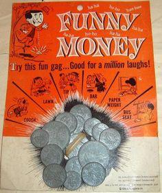 DIME STORE: 1960s Funny Money Gag Toy #Vintage #Toys