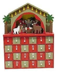 26cm NATIVITY SCENE WOODEN WOOD ADVENT CALENDAR TRADITIONAL CHRISTMAS DECORATION