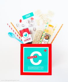 Have a sick friend and not sure how to help? With this DIY emergency Vitamin C kit, you can deliver a box of feel-better goodies right to their door! Printable Games For Kids, Gift Tags Printable, Free Printables, Homemade Gifts, Diy Gifts, Easy Meals For Kids, Kit, Cute Gifts, Teacher Gifts