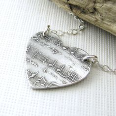 Sheet Music In My Heart Necklace Sterling Silver Romantic Fall Fashion Jewelry Dainty Charm Pendant - Jennifer Casady