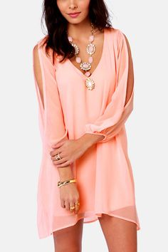 Light Pink Slit Long Sleeve Chiffon Dress #Light #Dress #maykool
