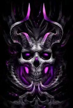 'Pink Demon Skull' by Skull Tattoos, Body Art Tattoos, Flame Tattoos, Skeleton Tattoos, Dark Fantasy Art, Dark Art, Diy Poster, Grim Reaper Art, Skull Art