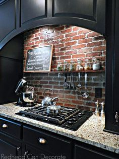 Love the brick backsplash with a shelf in the kitchen