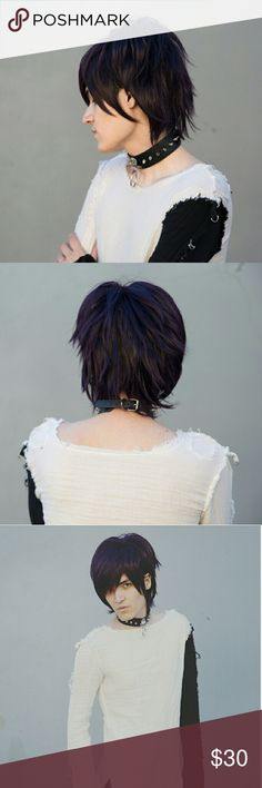 New Dark Purple Anime Cosplay Wig Punk Rock Emo Dark purple Fluffy wig. Looks almost black expect in the light. Ideal for cosplay.  Has an anime style and looks unisex.  New. has tags attached.  Includes wig cap for using the buy now button.  #anime #Cosplay #Wig #unisex Hot Topic Accessories Hair Accessories