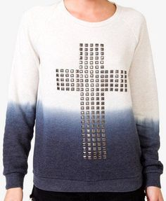 Ombre studded cross pullover I Forever21