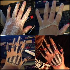 Skeletal hand wound made liquid latex, translucent powder, bh cosmetics 10 color concealer palette and a $3 Halloween pan makeup palette.
