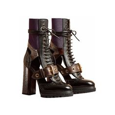 Burberry Leather and Snakeskin Cut-Out Platform Boots ($1,795) ❤ liked on Polyvore featuring shoes, boots, heels, stretch leather boots, snake skin boots, cut out heel boots, lace up heel boots and block heel shoes