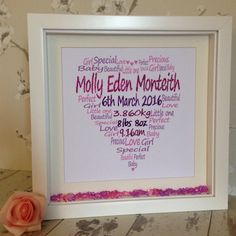New listing here at Funky Designs by Di.  Gorgeous newborn personalised frame.