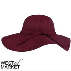 -SPRING SALE-  Floppy Wool Hat Burgundy hat with floppy wide rim. Accent tie around the center. PLEASE COMMENT TO BUY THIS LISTING, I will make a separate listing for you! We cannot accept discounted offers on items marker RETAIL! West Market SF Accessories Hats