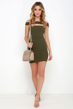 Modern Take Olive Green Off-the-Shoulder Dress – Women Fashion Olive Dress, Olive Green Dresses, Tight Dresses, Sexy Dresses, Short Dresses, Hot Outfits, Dress Outfits, Fall Outfits, Casual Outfits