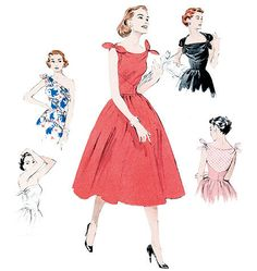 50s Inspired Womens Plus Size Cocktail Party Dress Sewing Pattern,  Reissue of 1950s Butterick 5708 Modern sizes14 to 22uncut. $8.00, via Etsy.