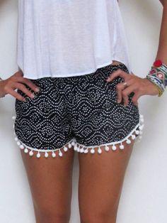 High Waist Boho Tassel Shorts