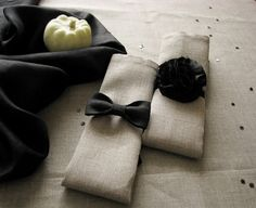 Napkin rings of black linen fabric- set of 6 - pompons - bow ties- for him and her- halloween party