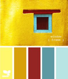 New living room blue yellow red design seeds ideas Design Seeds, Paint Schemes, Colour Schemes, Color Combos, Wall Colors, House Colors, Mexican Colors, Santa Fe Style, Workspace Design