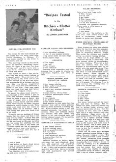 Kitchen Klatter Magazine, July 1949 - Superb Sttrawberry Pie, Pea Salad, Cabbage Salad and Dressing, Cream Cheese and Pineapple Salad, Gingerale Grapefruit Salad, Salad Dressing, Fried Chicken, Double Chocolate Puffs