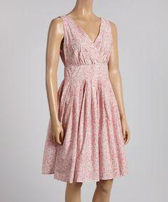Look at this #zulilyfind! Pink Floral Pleated Sleeveless Dress by Aryeh #zulilyfinds