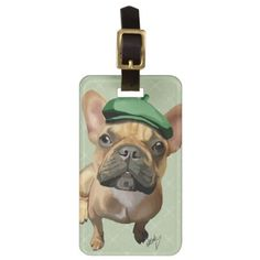 Brown French Bulldog with Green Hat Luggage Tag - click to get yours right now!  #dog #dogs #dogLovers #pet #pets  #illustrations #illustration #gift #gifts #giftideas #giftforher #animal #animals #humor #funny #lol