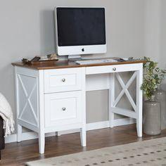 Belham Living Hampton Desk with Optional Hutch - White/Oak