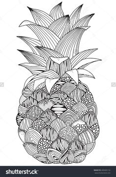 Artistic Pineapple On White Background Black And Made By Trace From Sketch Coloring Book Page For Adult