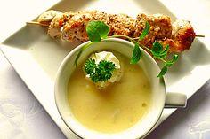 Spargelcremesuppe mit Hähnchen - Sesam - Spieß