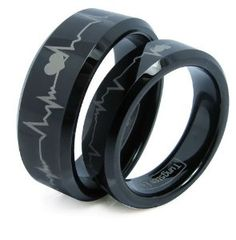 Matching Black Comfort Fit Tungsten Carbide Rings with Laser Forever Love Design 8mm (Size 5 -16) His & 6mm (Size 4-16) Hers Set Aniversary/engagement/wedding Bands. Please E-mail Sizes