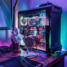 What do you think about this setup? DM us your setup and which ever one we like the best we will post it Gaming Desk Setup, Gamer Setup, Computer Setup, Pc Setup, Gaming Computer, Computer Case, Computer Technology, Computer Science, Cooler Master