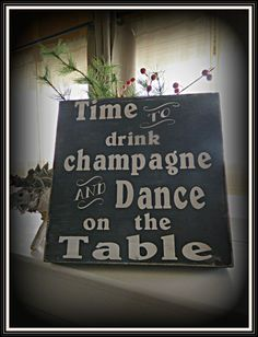 Whimsical Champagne sign handmade, all wood rustic and distressed Great Holiday decor, Wedding reception sign..... $27.00, via Etsy.