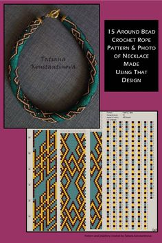 15 around bead crochet rope pattern and a photo showing what a necklace made using that pattern looks like. I did not create the pattern or necklace. I simply put the two together as I find it useful to see the finished piece next to the pattern when choosing my next project. I thought you might too. Thanks, and credit, to Tatiana Konstantinova who created the pattern and jewellery. #creatingjewelrythoughts