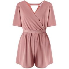 Miss Selfridge PETITE Slinky Wrap Playsuit ($76) ❤ liked on Polyvore featuring jumpsuits, rompers, dresses, enterizos, mink, petite, playsuit romper, red romper, wrap romper and miss selfridge