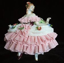 PERFECT Antique Volkstedt German Dresden Lace Porcelain Victorian Lady  Figurine