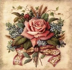 Lisa Audit Solid-Faced Canvas Print Wall Art Print entitled Roses II, None Decoupage Vintage, Decoupage Paper, Vintage Diy, Vintage Cards, Vintage Paper, Vintage Flowers, Vintage Floral, Arte Floral, Flower Images