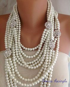 Chunky Layered  bold Ivory Pearl Necklace by HMbySemraAscioglu, $253.00