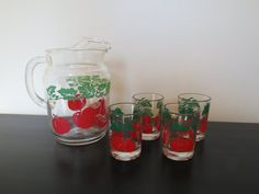 Tomato Juice Pitcher and Set of 4 Juice Glasses